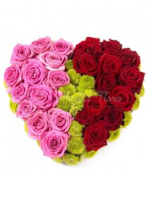 Сердце из роз и хризантем